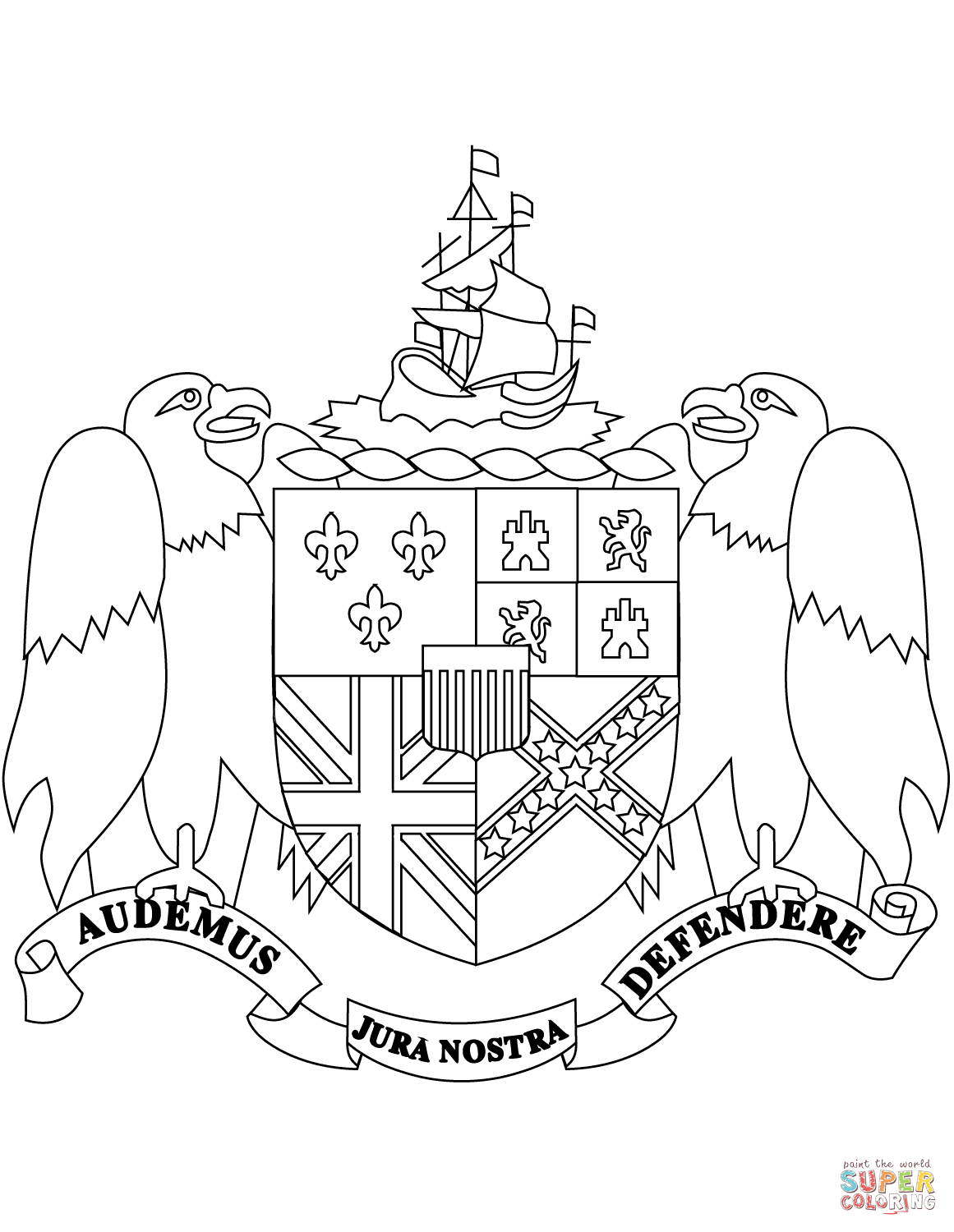Coat Of Arms Of Alabama Coloring Page