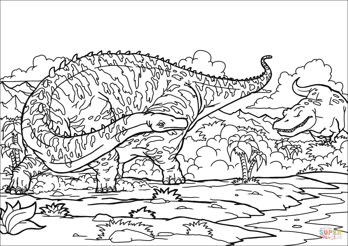 Diplodocus And T Rex Coloring Page