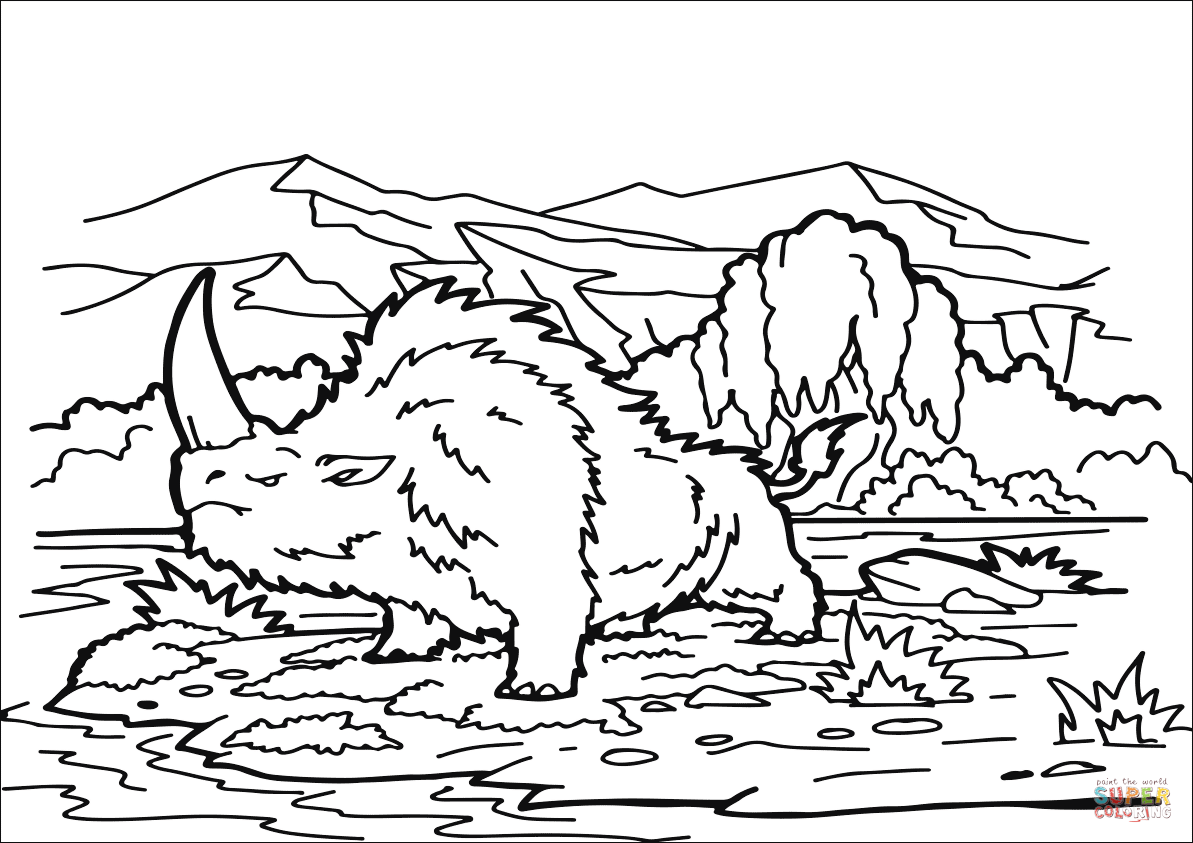 Dibujo de Elasmoterio (Unicórnio siberiano) para colorear