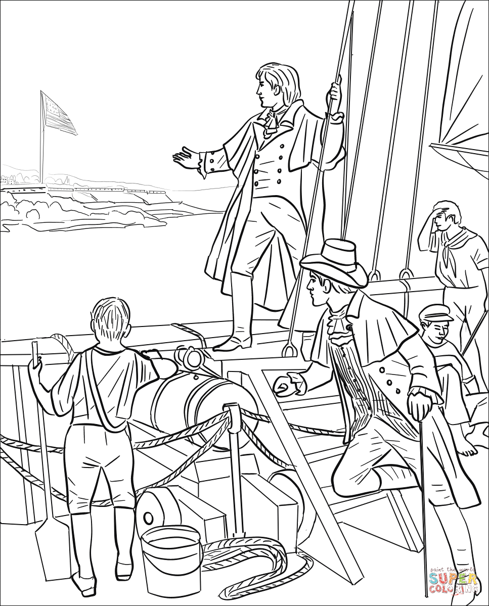 Star-spangled Banner over Fort McHenry coloring page
