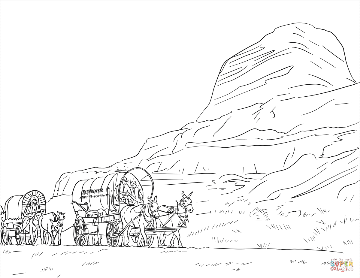 Wagon Train On The Oregon Trail Coloring Page