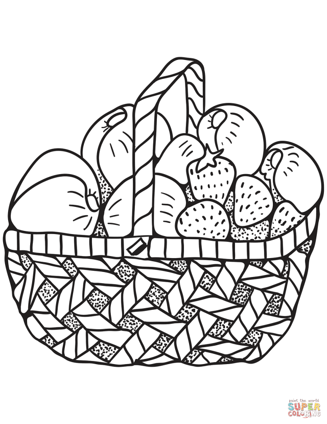 Zentangle Basket with Fruits coloring page  Free Printable