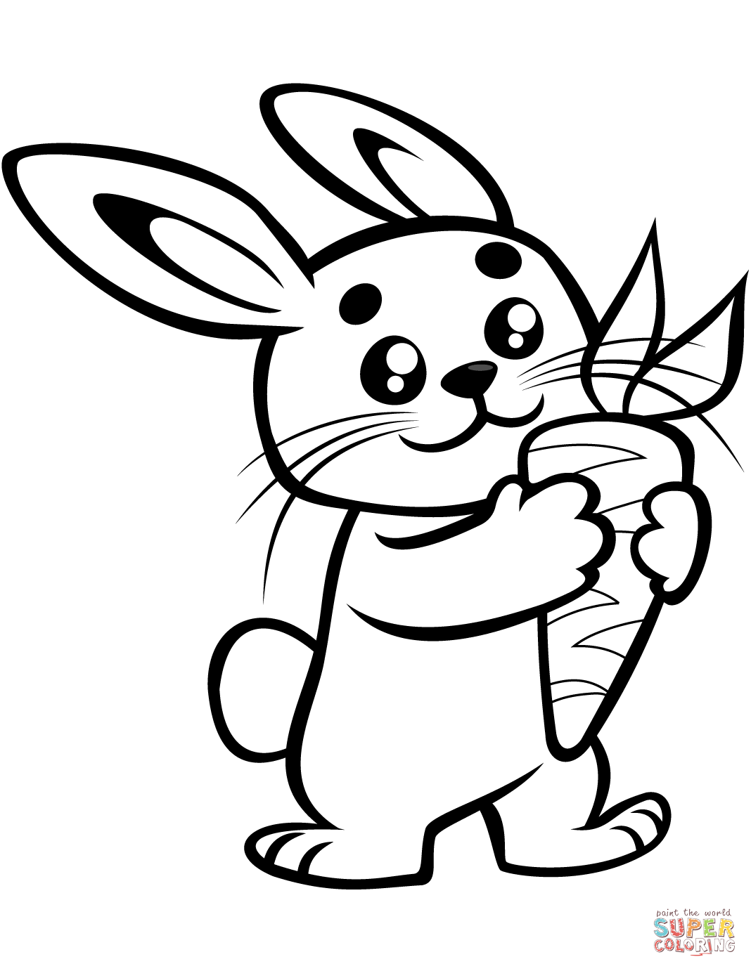 Cute Baby Bunny With A Carrot Coloring Page