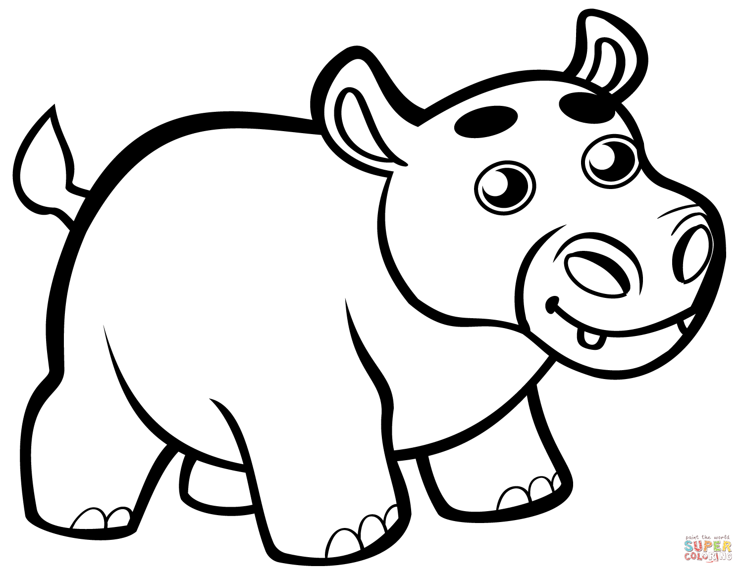 Cute Baby Hippo Coloring Page