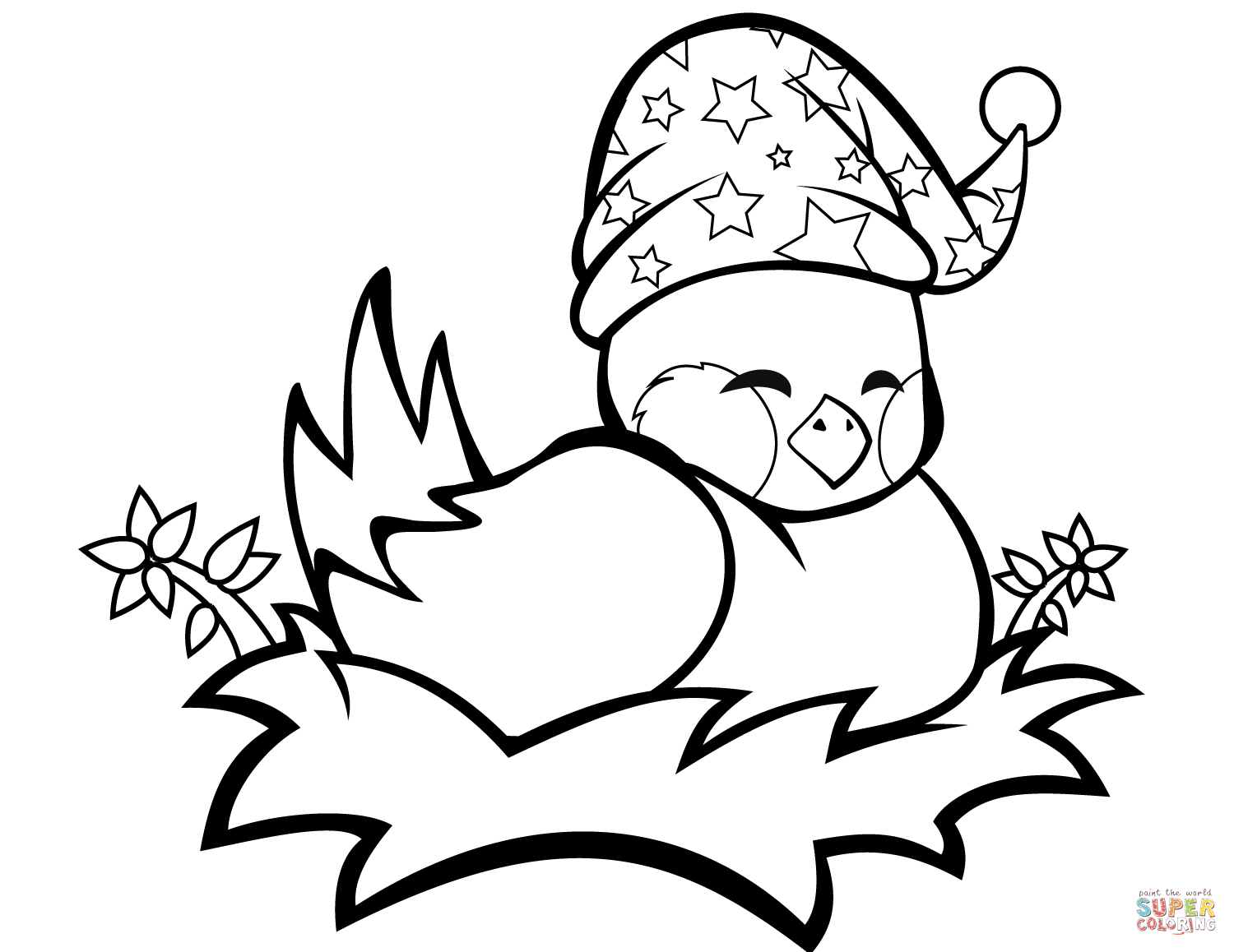 Cute Bird In A Nest Coloring Page