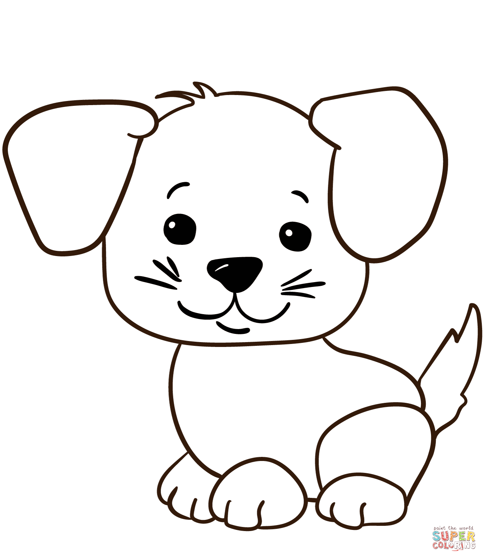 Cute Cartoon Puppy Coloring Page