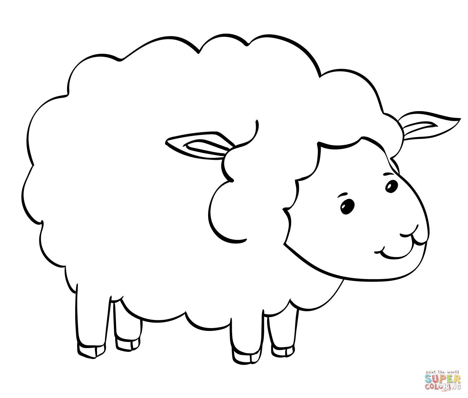 Cute Sheep Coloring Page