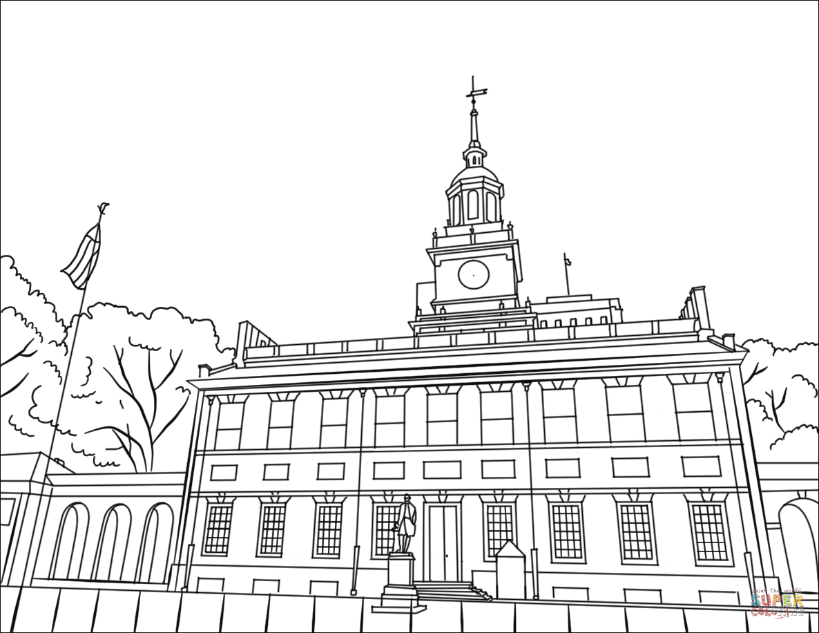 Independence Hall Coloring Page