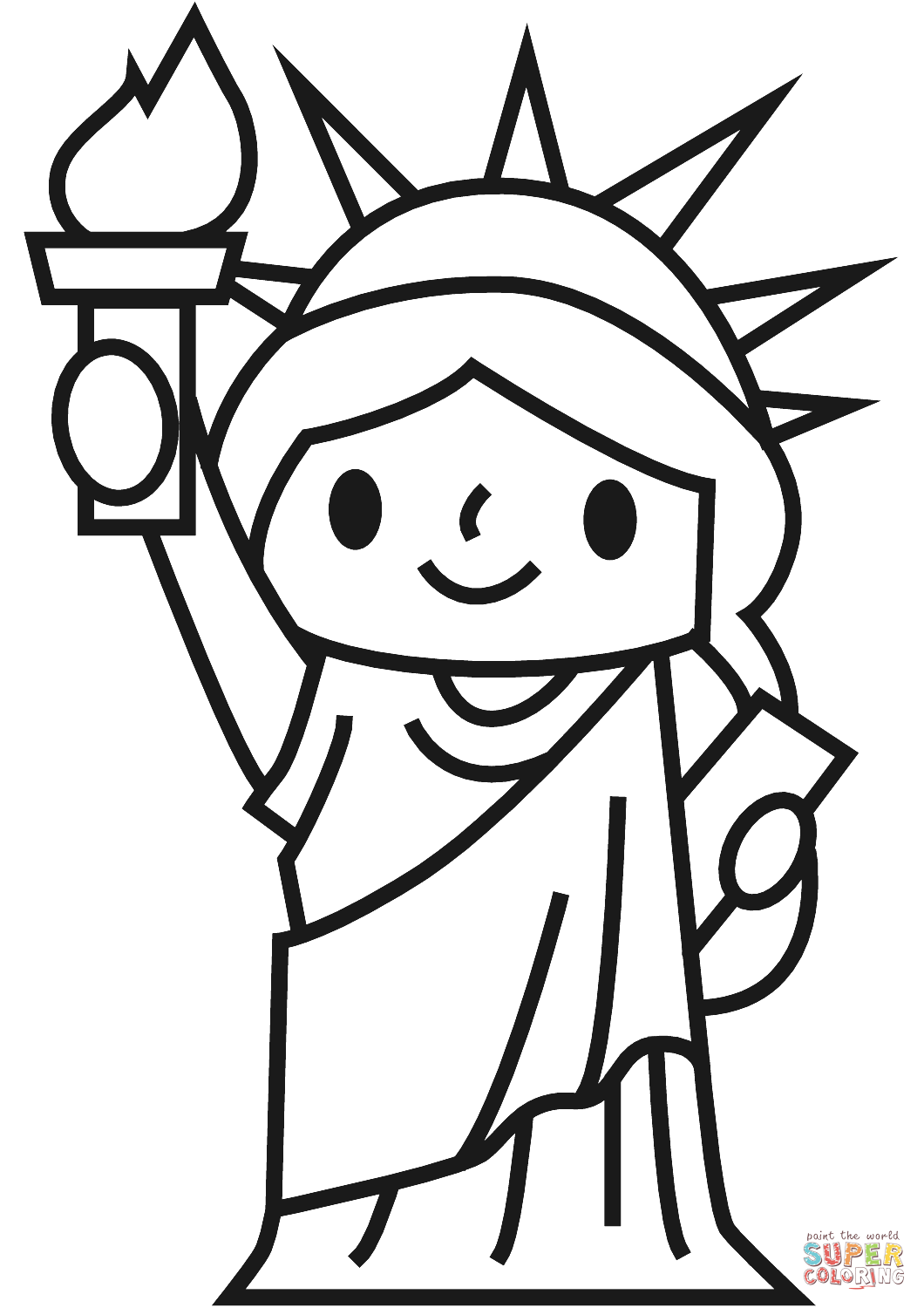 Dibujo de Estatua de la Libertad simple para colorear