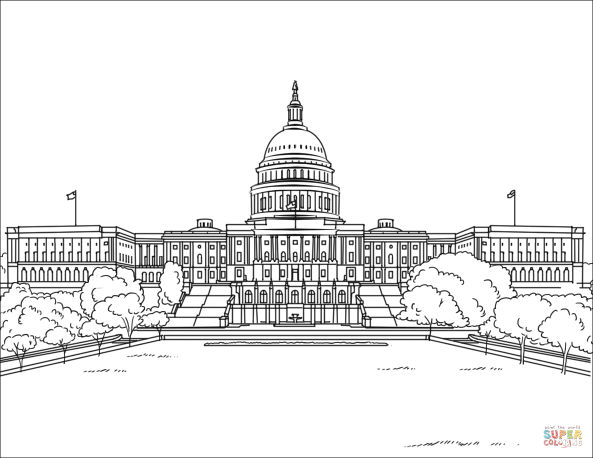 United States Capitol Building Coloring Page