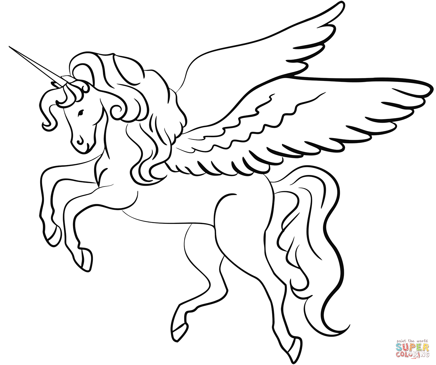 Coloring Pages Unicorn With Wings Coloring Page
