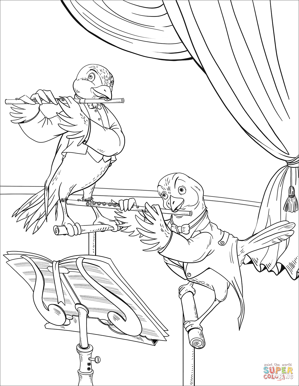 Birds Playing The Flute Coloring Page