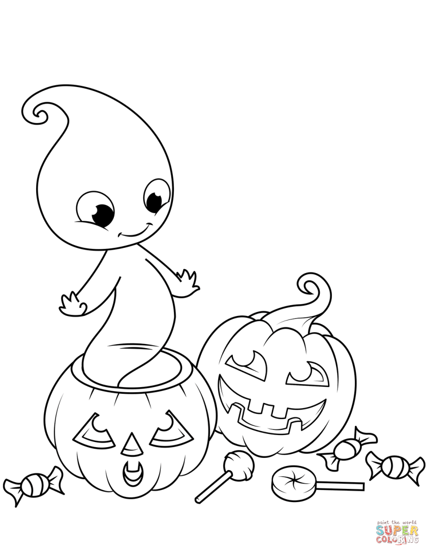 cute ghost from jack o'lantern coloring page  free