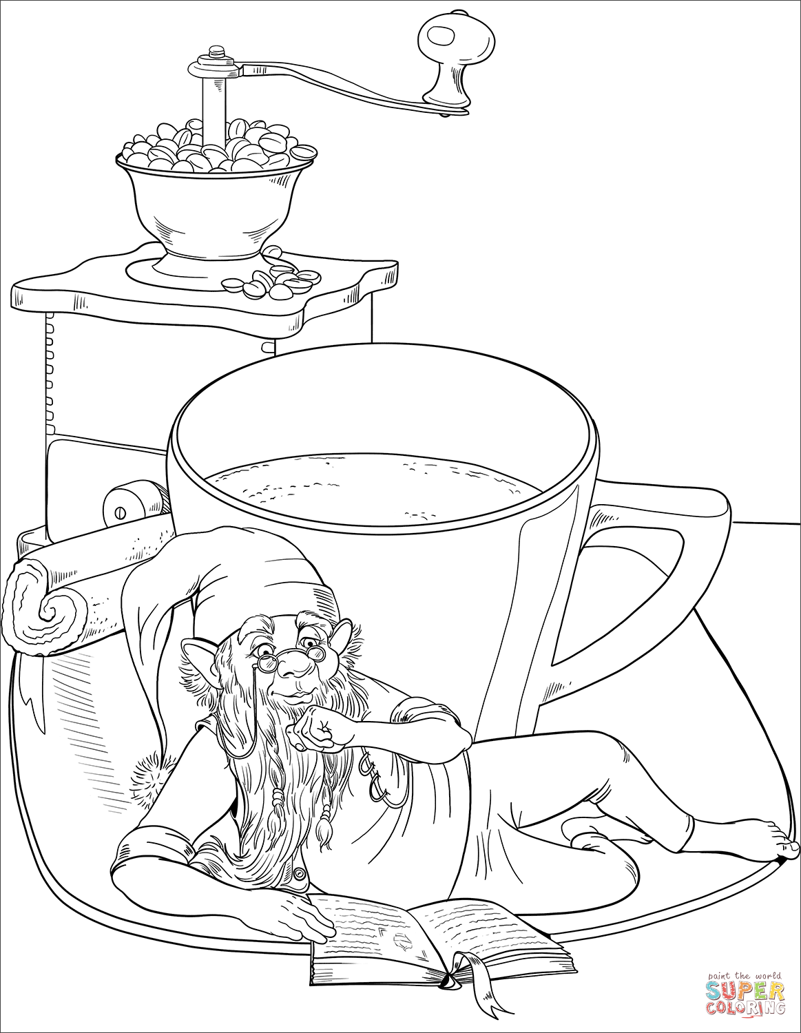 Gnome Reading A Book And Drinking A Coffee Coloring Page