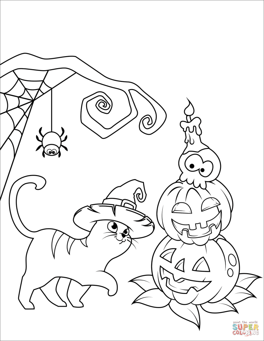 halloween cat and jack o'lantern coloring page  free