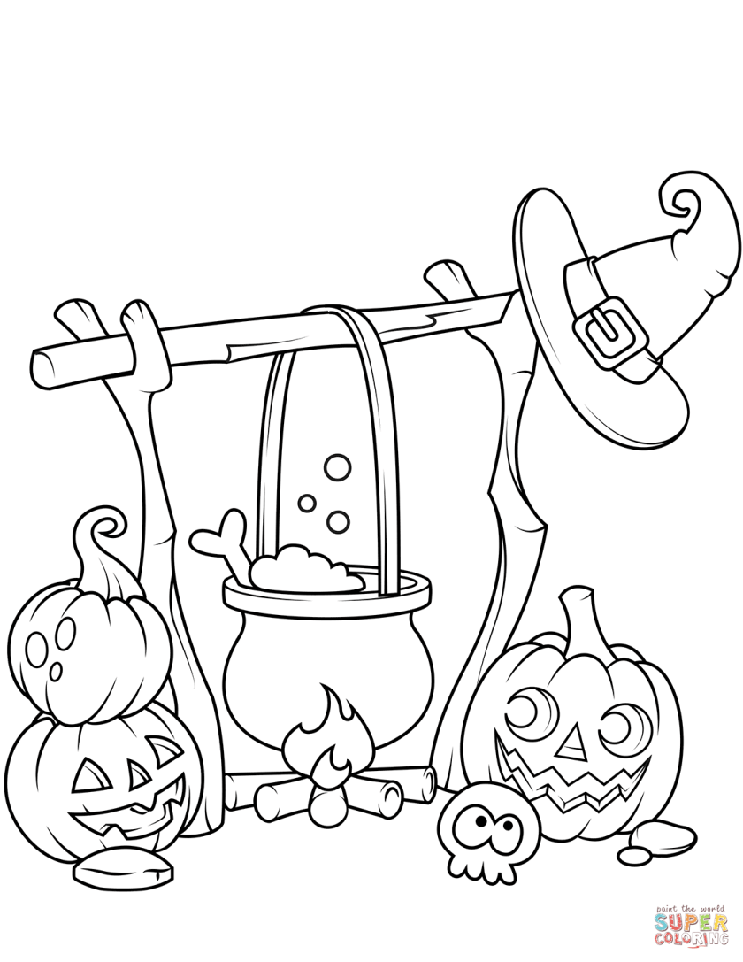 jack o'lanterns and a boiling cauldron coloring page