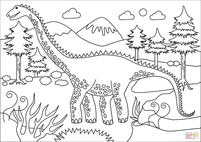 Diplodocus coloring page  Free Printable Coloring Pages