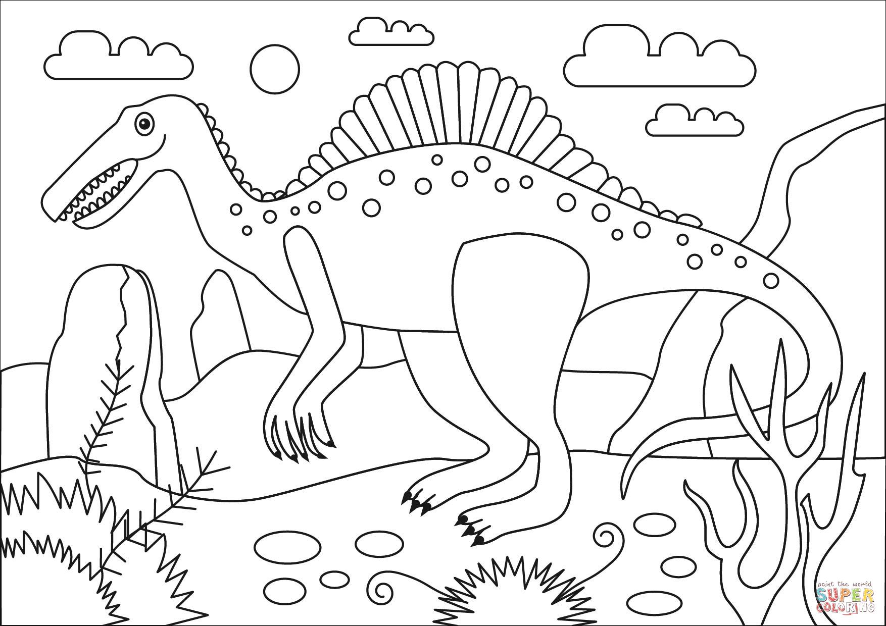 Spinosaurus Dinosaur Coloring Page Free Printable Coloring Pages