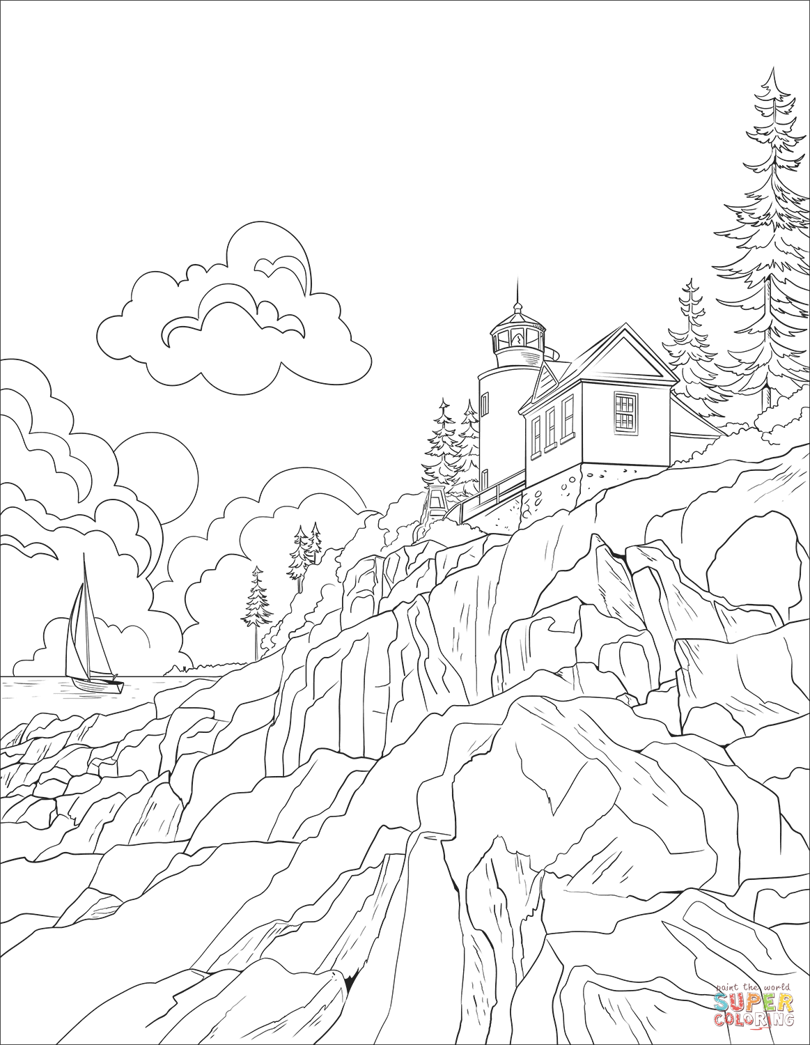The Bass Harbor Head Lighthouse Coloring Page