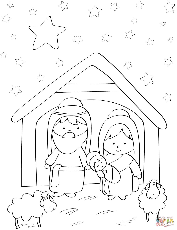Dibujo de María, José y el Niño Jesús para colorear