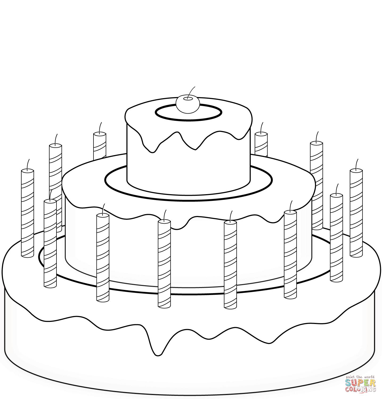 Dibujo de Tarta de Cumpleaños con Cereza para colorear