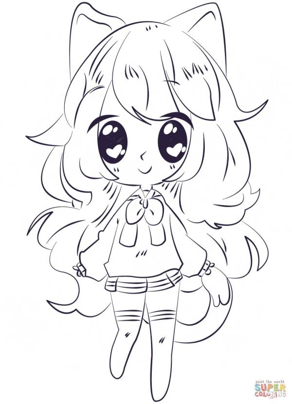 Kawaii Anime Girl Coloring Page Free Printable Pages