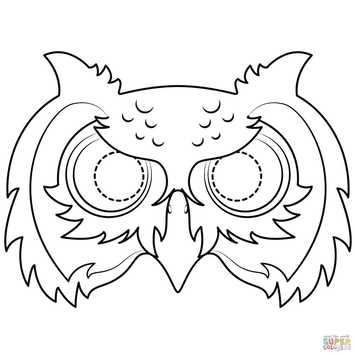 Owl Mask Coloring Page