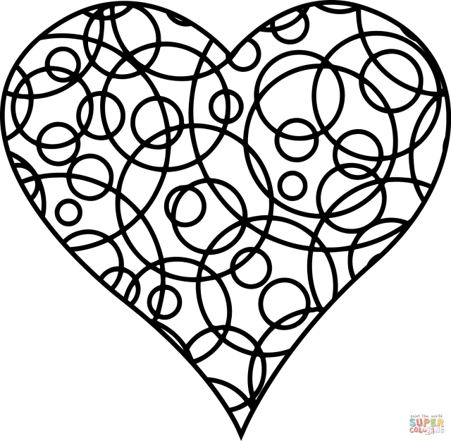 Patterned Heart coloring page  Free Printable Coloring Pages