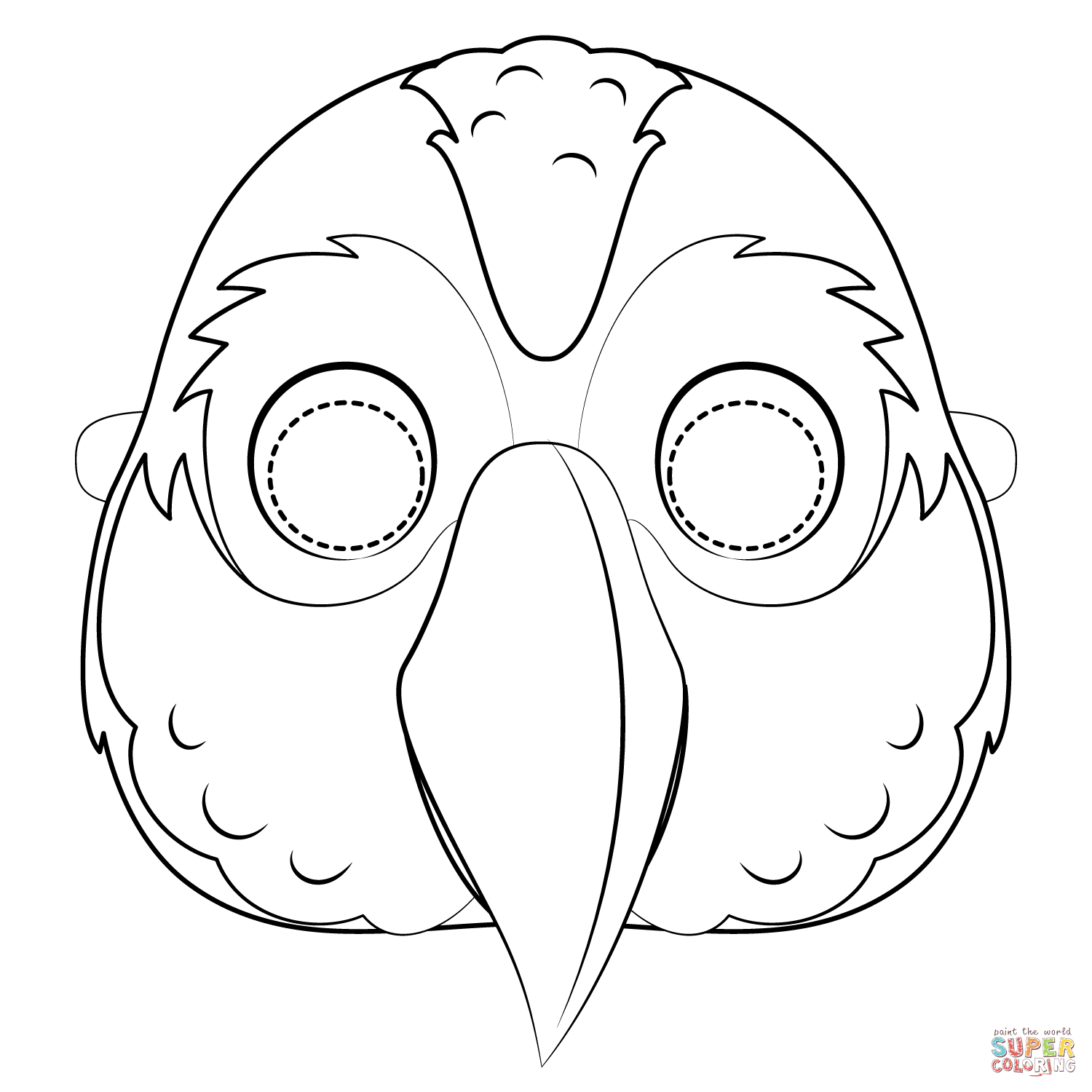 Parrot Mask Coloring Page