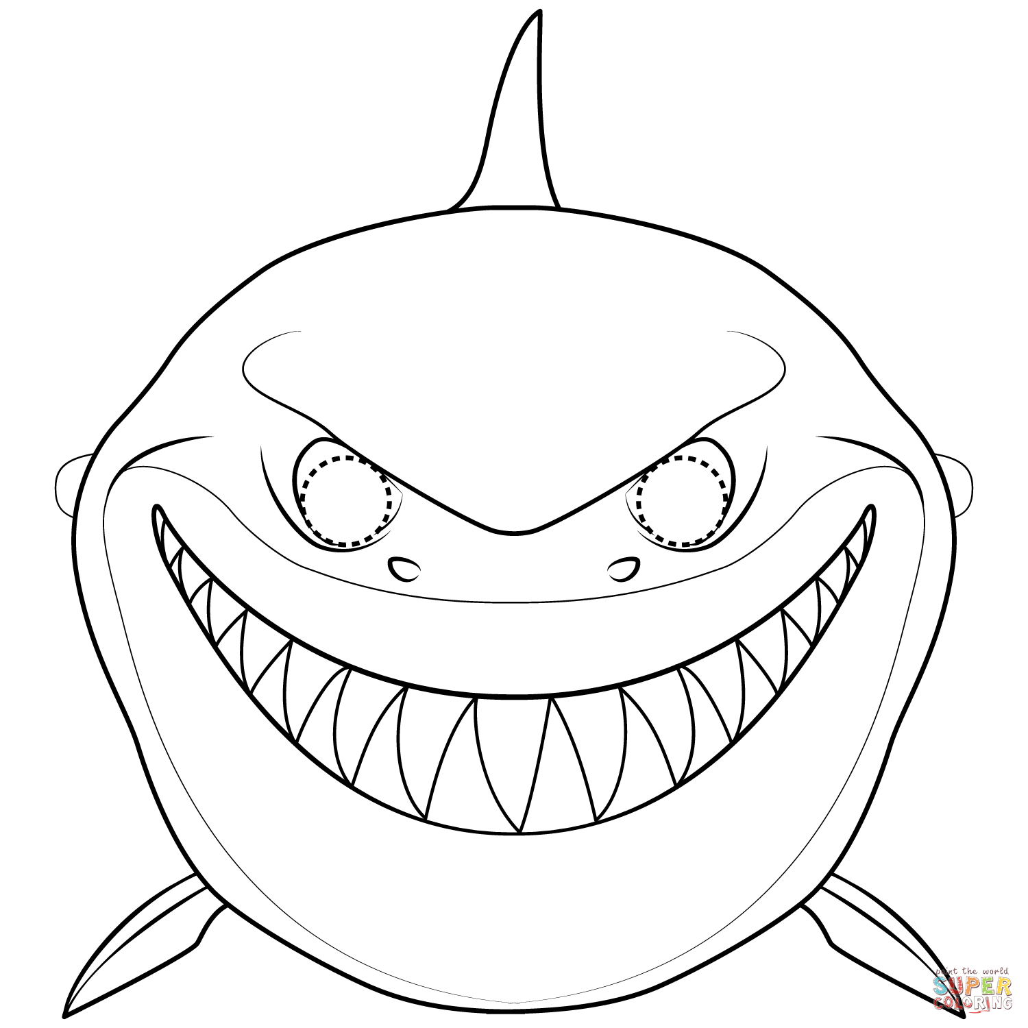 Shark Mask Coloring Page