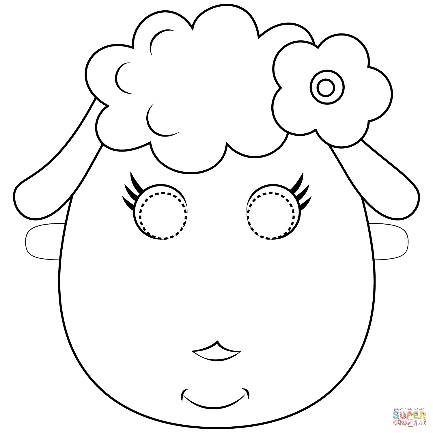 Sheep Mask Coloring Page