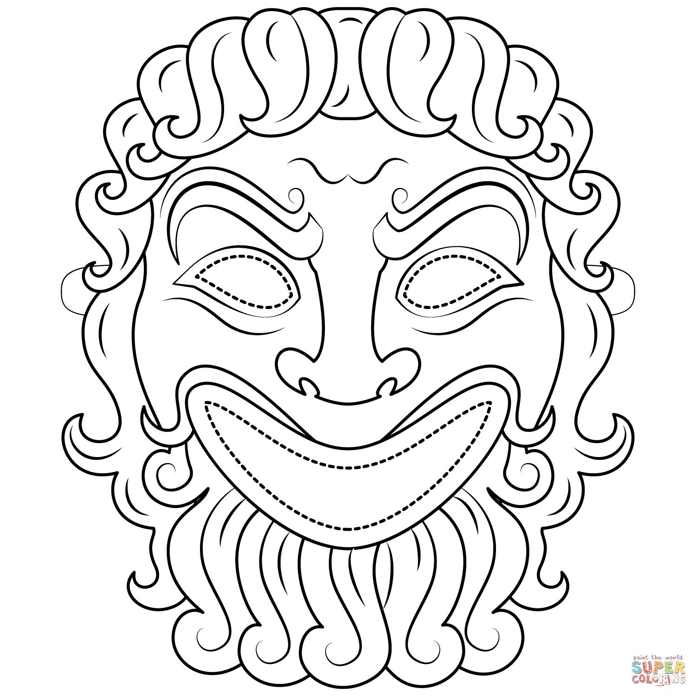 Dibujo de Máscara de Tragedia Griega para colorear