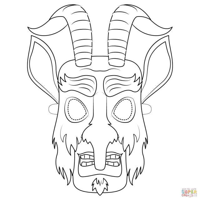 Krampus Mask coloring page  Free Printable Coloring Pages