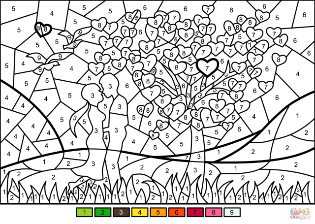 Couple in Love Color by Number  Free Printable Coloring Pages