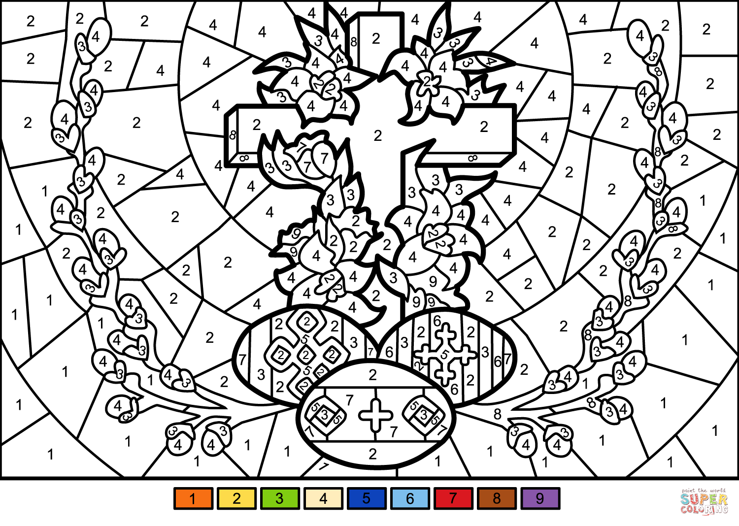 Easter Cross And Eggs Color By Number