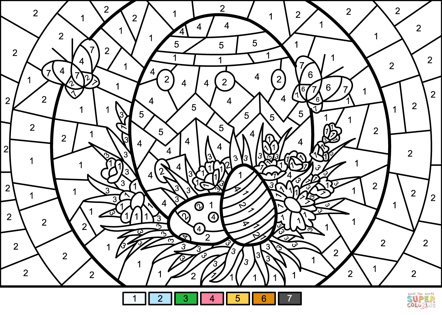 Easter Eggs Color By Number