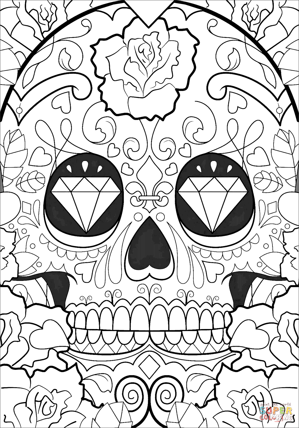 Day Of The Dead Pattern Coloring Page