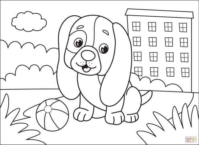 Puppy coloring page  Free Printable Coloring Pages