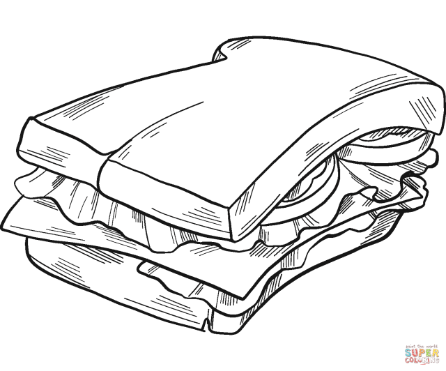Sandwich coloring page  Free Printable Coloring Pages