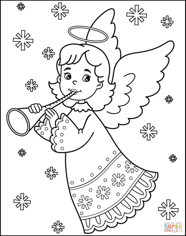 Christmas Angel coloring page  Free Printable Coloring Pages