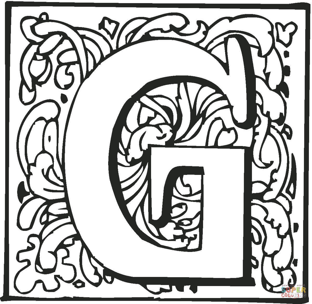 Letter G With Ornament Coloring Page