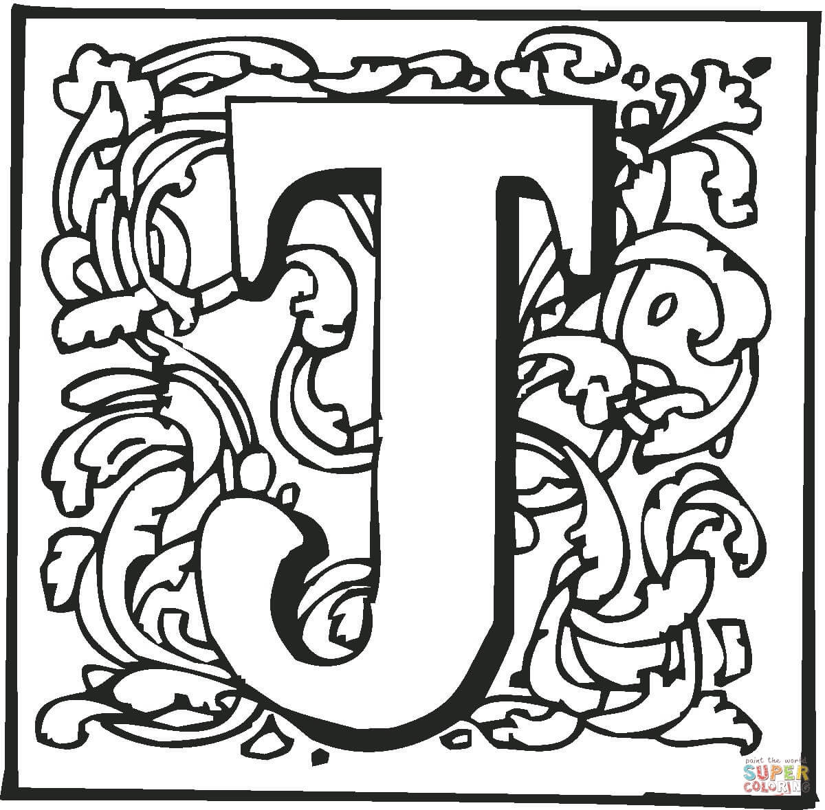 Best Letter J With Plants Coloring Page Free Printable
