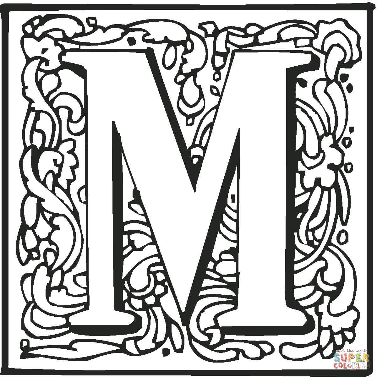 Letter M With Ornament Coloring Page
