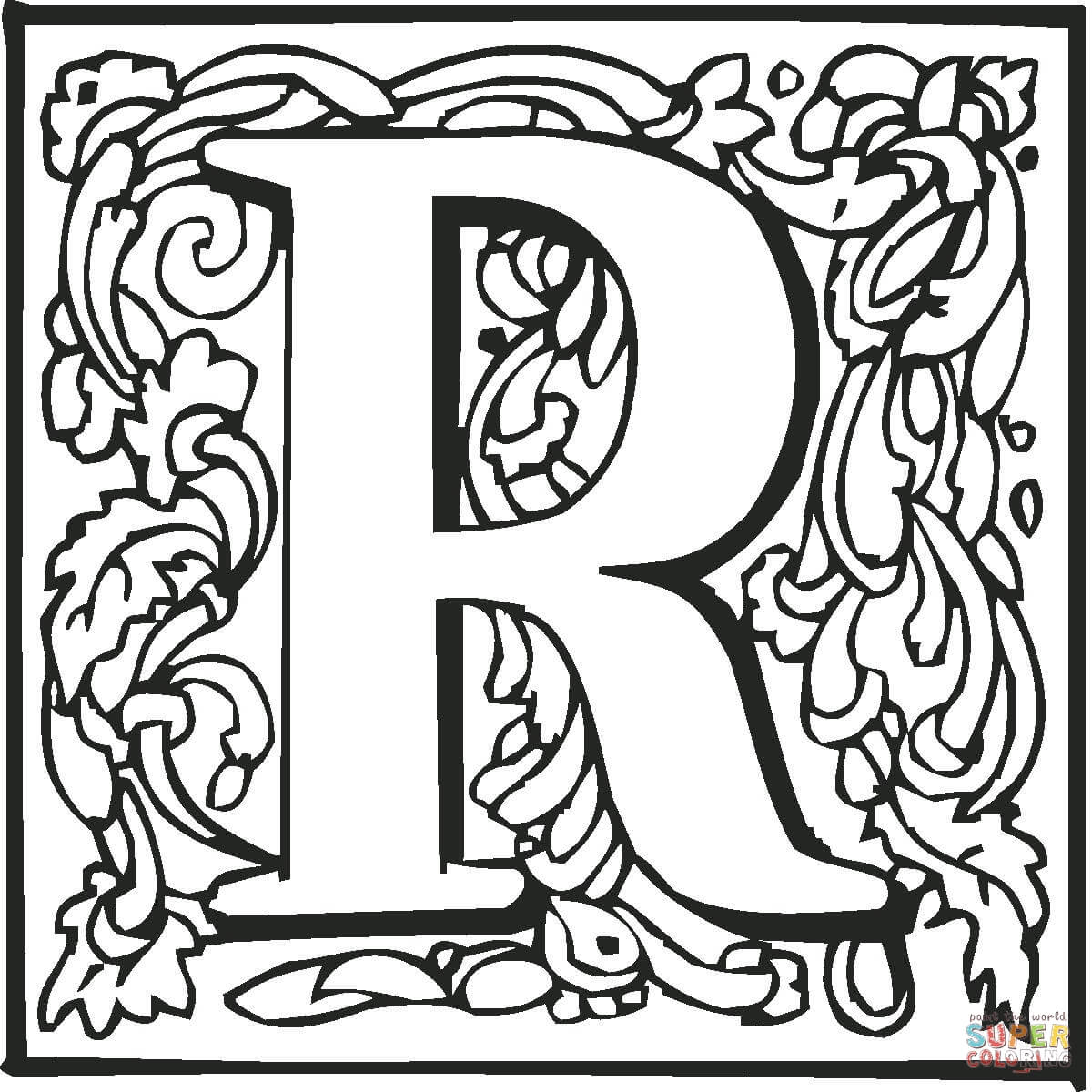 Letter R With Ornament Coloring Page