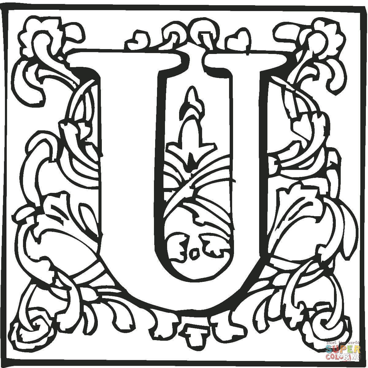 Letter U With Ornament Coloring Page Free Printable Coloring Pages