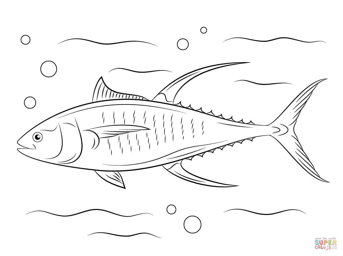 Cute Yellowfin Tuna Coloring Page Free Printable Coloring Pages