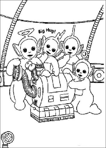 Ausmalbild: Die Teletubbies und ihr Staubsauger