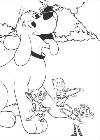 Ausmalbild: Clifford und seine Freunde spielen Hula Hoop