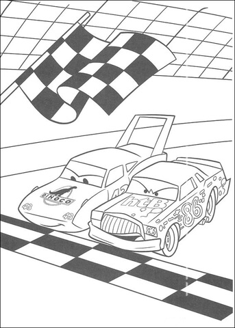 McQueen and Chick Hicks on starting line coloring page