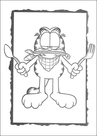 Picture Of Garfield with fork and knife coloring page